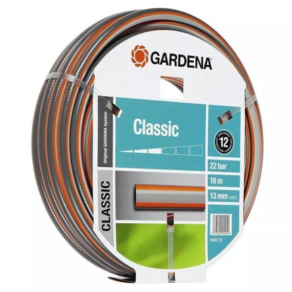 Manguera 1/2 X 18 Metros | Gardena Classic - Cuenta con una longitud de 18 metros y un diámetro de 13 mm. Posee una presión de 22 bar. Flexibilidad del 50%. El material de esta manguera es de PVC,entramados de Nylon - La Quinta